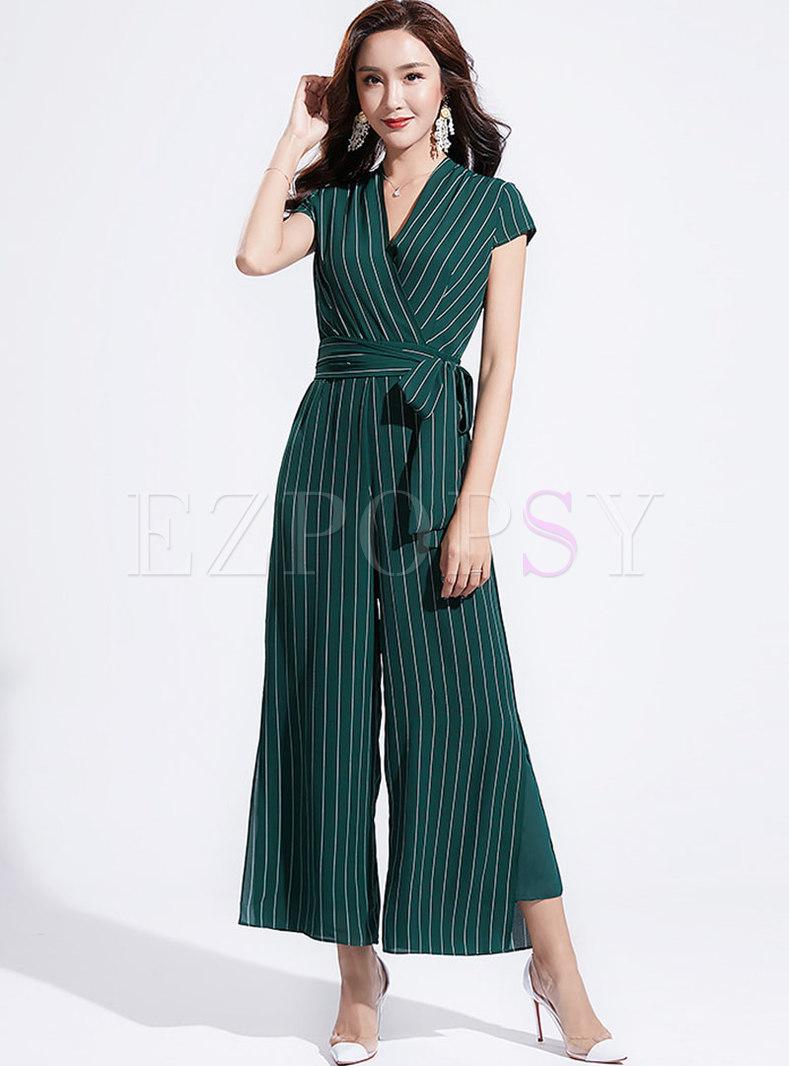 Elegant Striped V-neck Belted Slim Jumpsuit