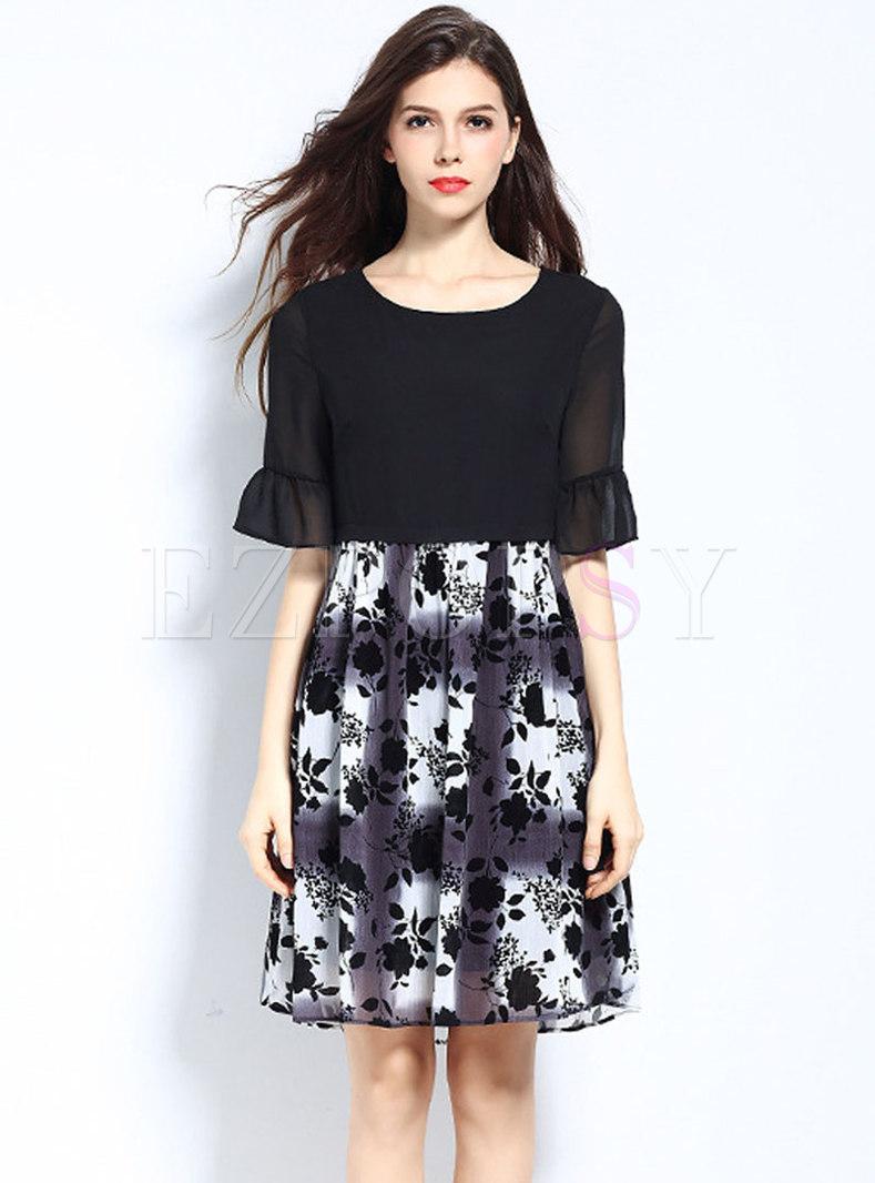 Plus Size Flocking Floral Splicing Skater Dress