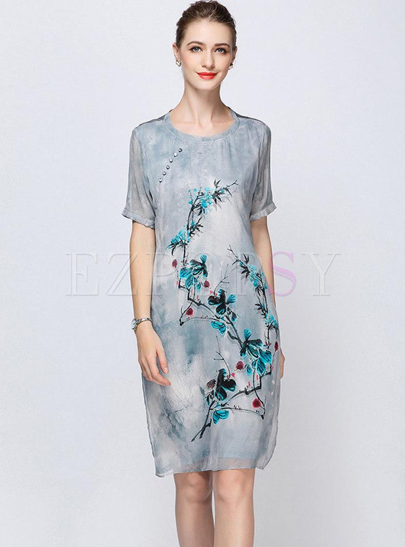 Vintage Grey Embroidered Silk Shift Dress