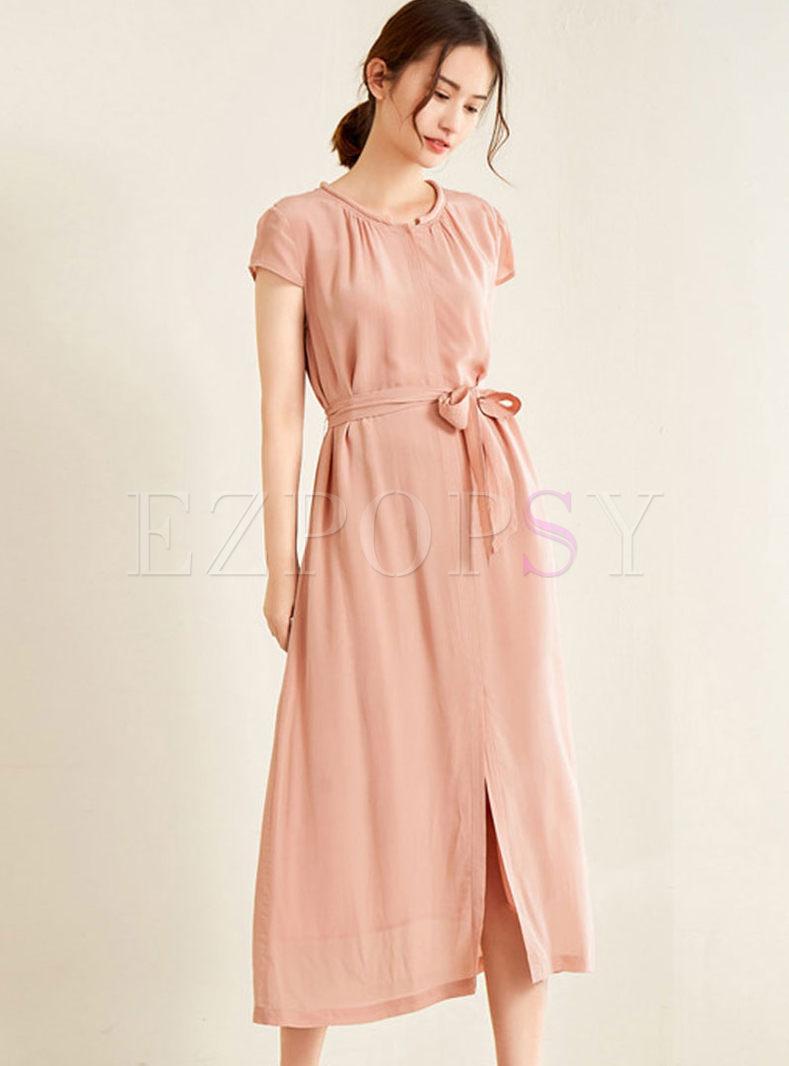 O-neck Short Sleeve High Waist Slit Dress