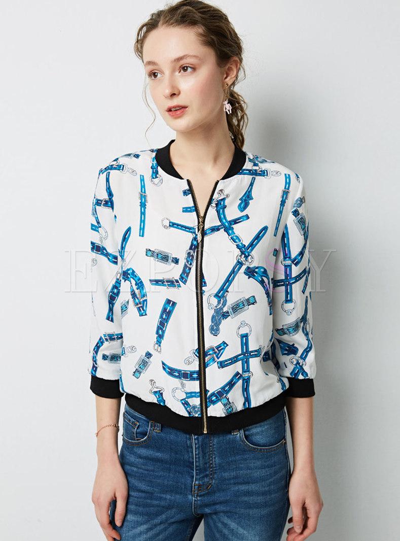 Casual Print Stand Collar Zipper Jacket