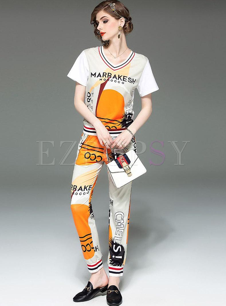 Casual Print V-neck T-shirt & Elastic Waist Harem Pants