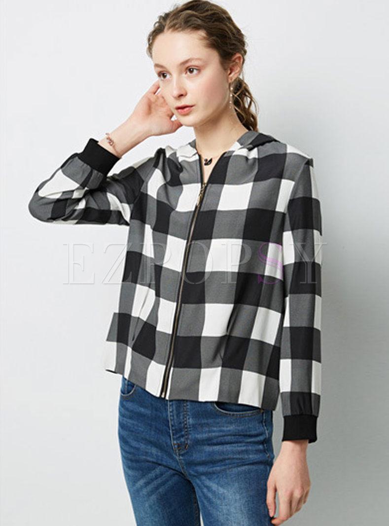 Casual Hooded Long Sleeve Plaid Slim Coat