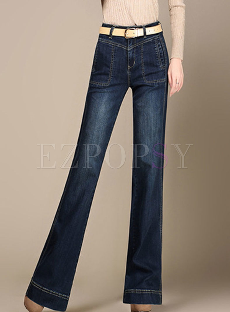 Denim High Waist Elastic Flare Pants