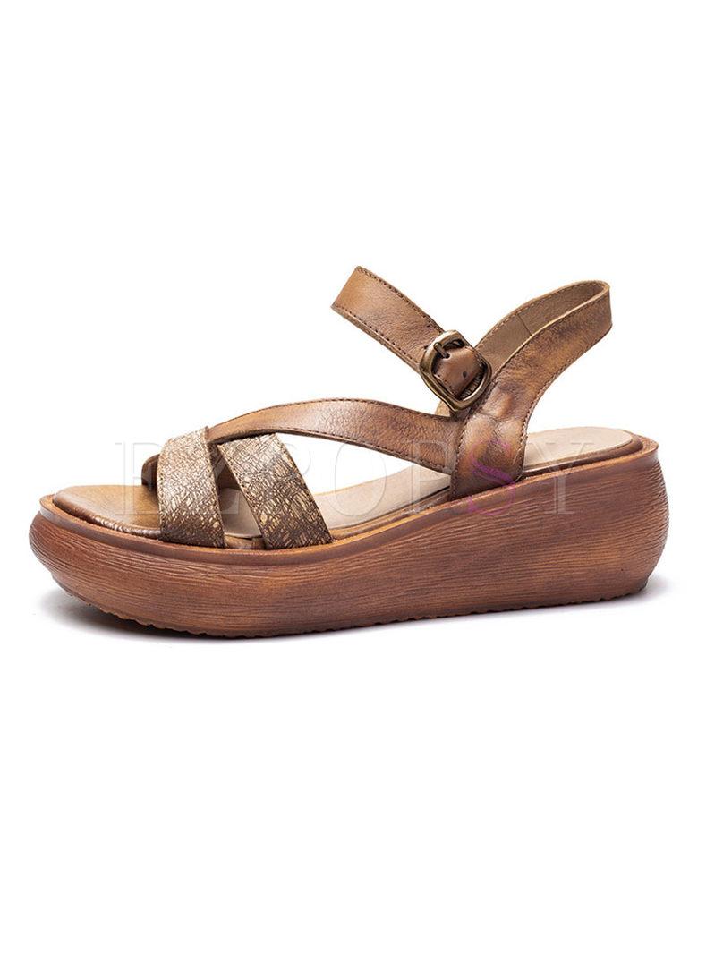 Leather Platform Sandals Platform Summer Leather Vintage Vintage Summer Platform Vintage Summer Sandals yb6v7Yfg