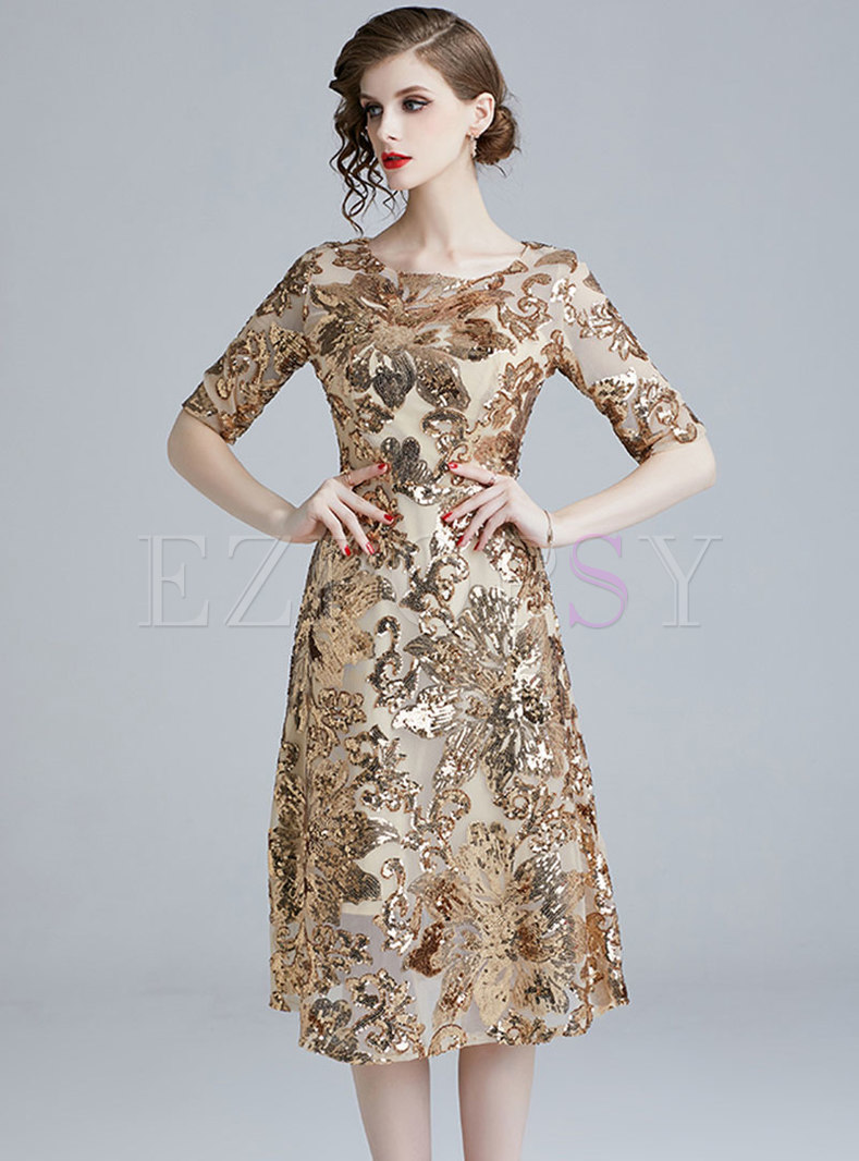 Chic O-neck Half Sleeve Sequins Slim Party Dress