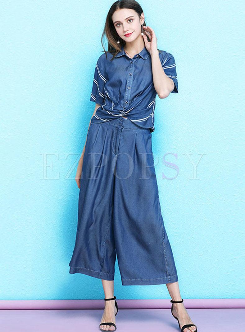 Fashion Lapel Striped Blouse & Wide Leg Pants