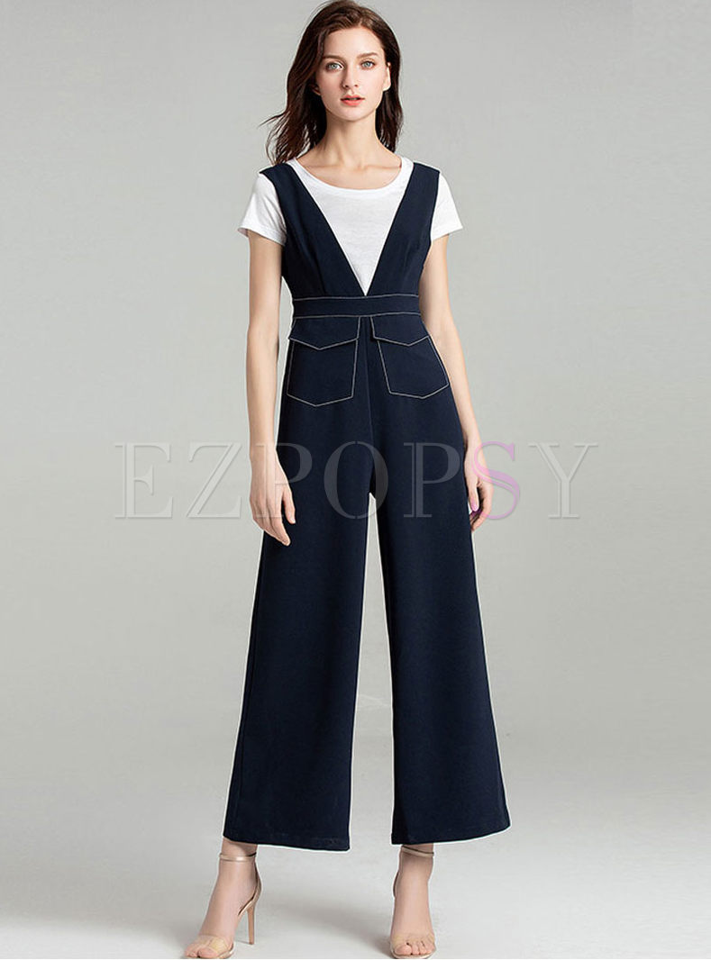 Brief White Slim T-shirt & Wide Leg Overalls