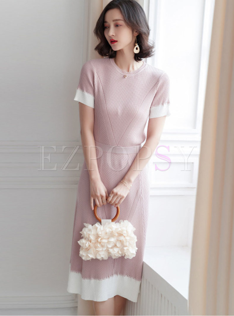 Stylish Color-blocked O-neck Knitted Top & High Waist Skirt