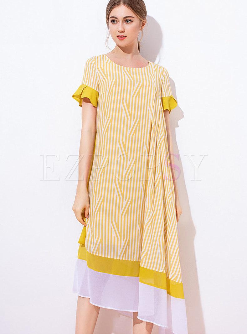 Vintage Striped Asymmetric Ruffle Sleeve Shift Dress