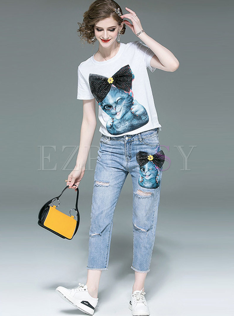 Cartoon Pattern O-neck T-shirt & Denim Holes Straight Pants