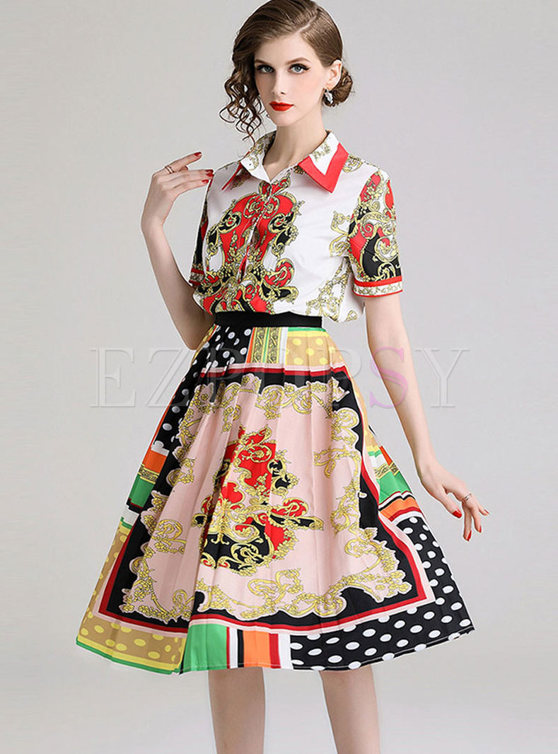 Court Lapel Short Sleeve Print Two Piece Outfits