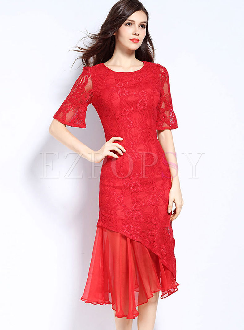 Elegant O-neck Plus Size Asymmetric Hem Dress