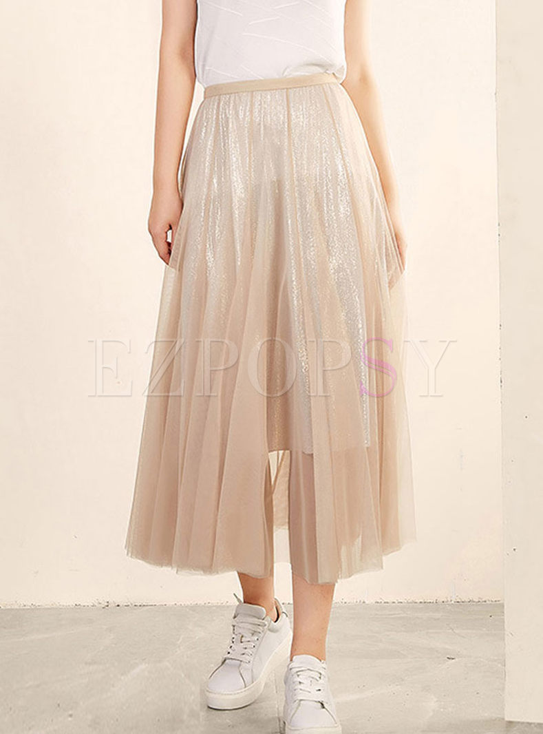 Fashion Elastic Waist Pleated Big Hem Skirt