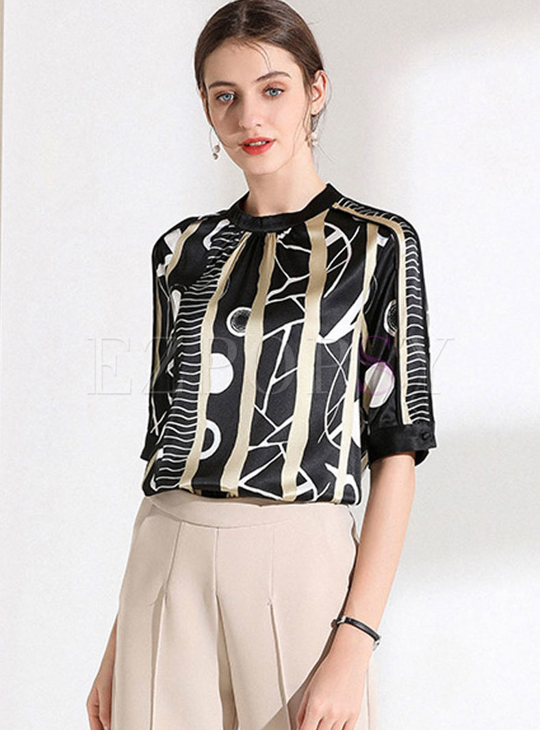 Fashion Standing Collar Pullover Silk T-shirt