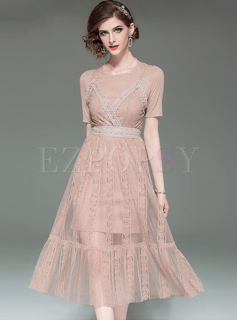 Brief O-neck Slim T-shirt & Lace Slip Dress
