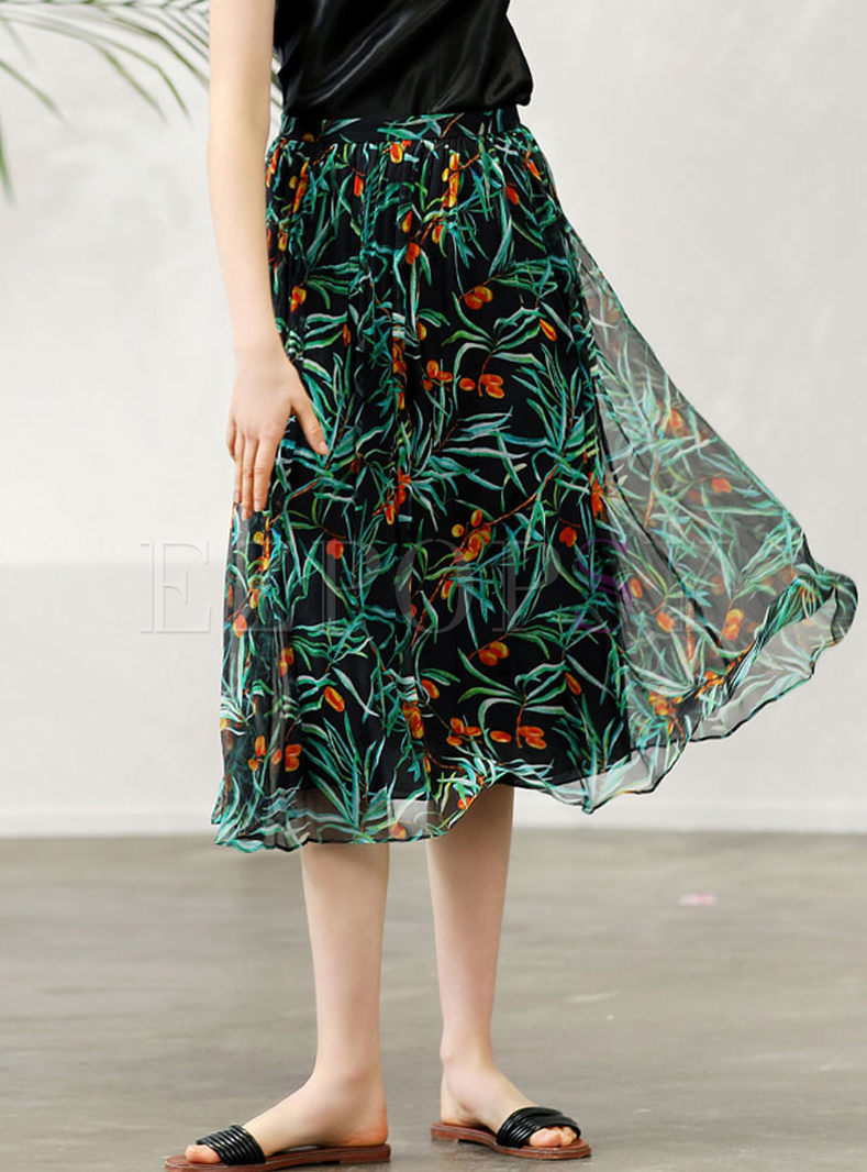 Fashion High Waist Big Hem Print Silk Skirt