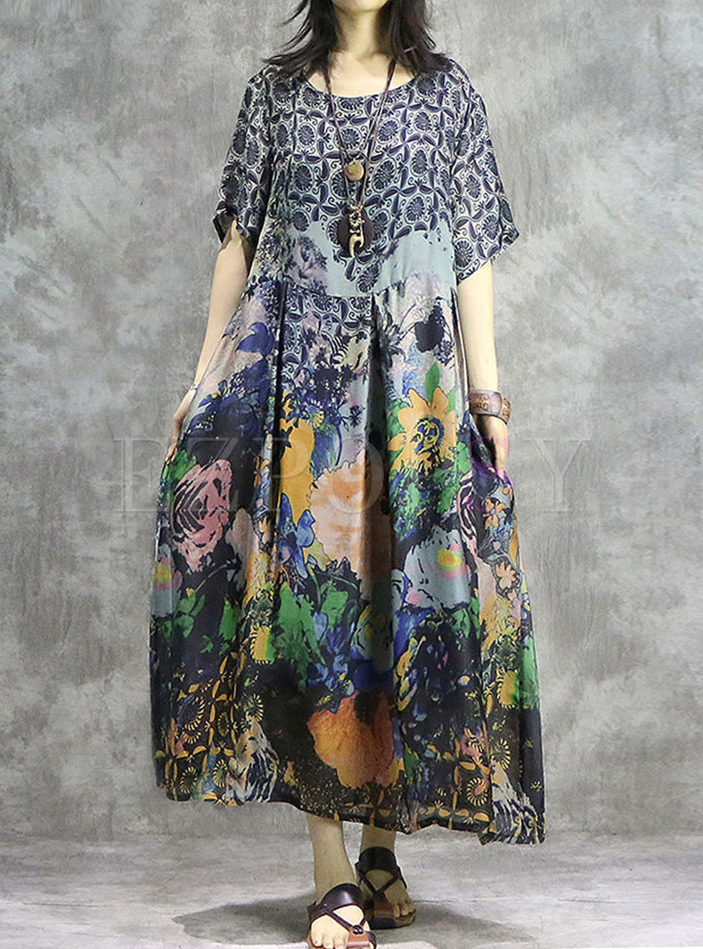 Ethnic O-neck Short Sleeve Silk Print Dress