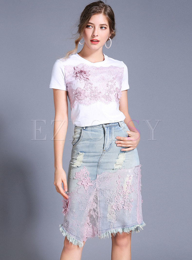 Chic Lace Flower T-shirt & Asymmetric Denim Skirt