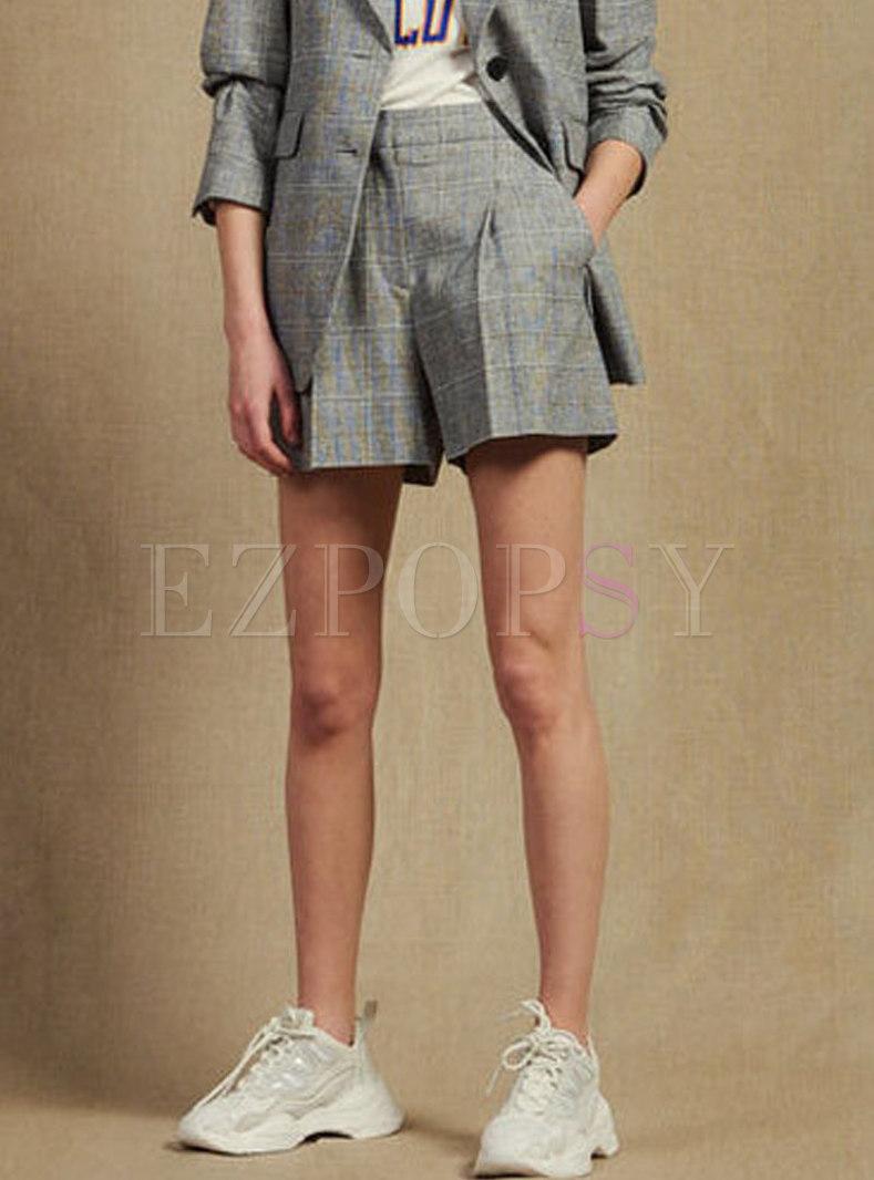 Vintage Plaid High Waist Straight Shorts