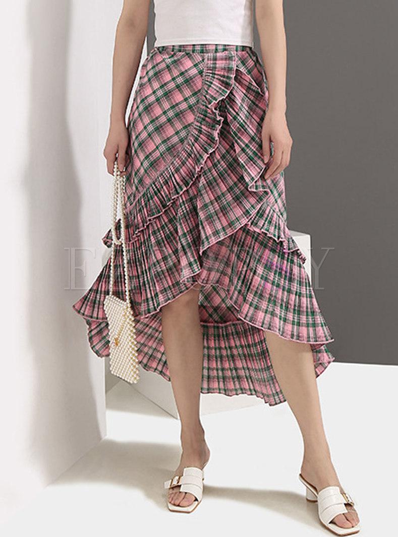 Asymmetric High Waist Falbala Plaid Mermaid Skirt