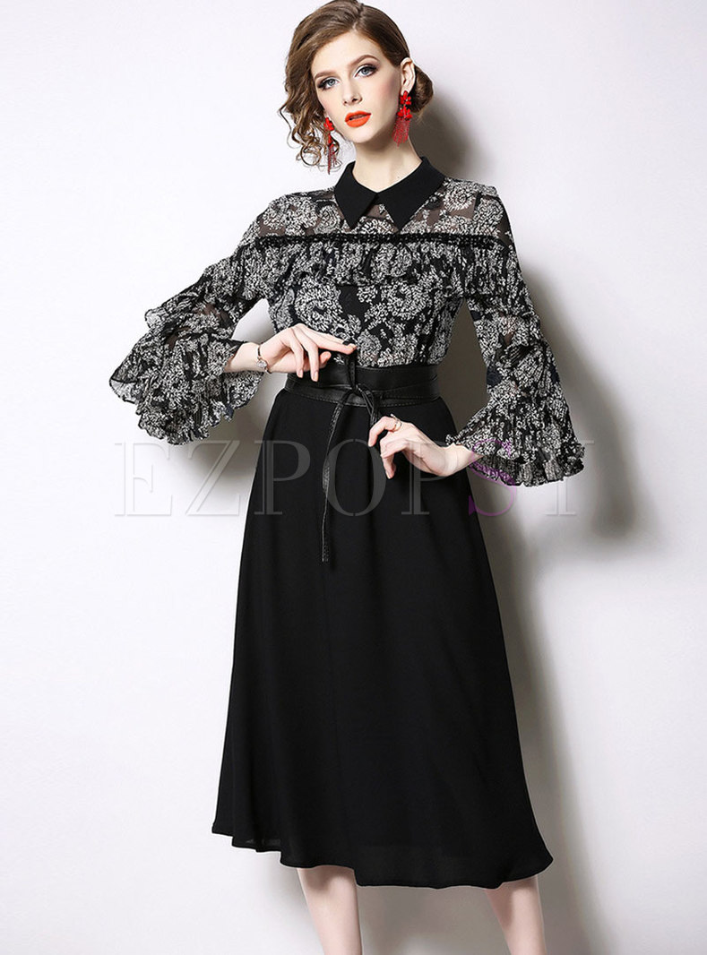 Print Splicing Flare Sleeve Tie-waist Skater Dress