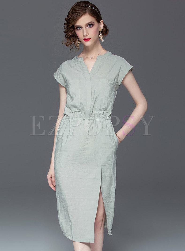 Elegant V-neck Elastic Waist Slit Bodycon Dress