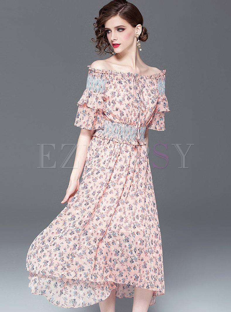 Floral Slash Neck Elastic Waist Skater Dress