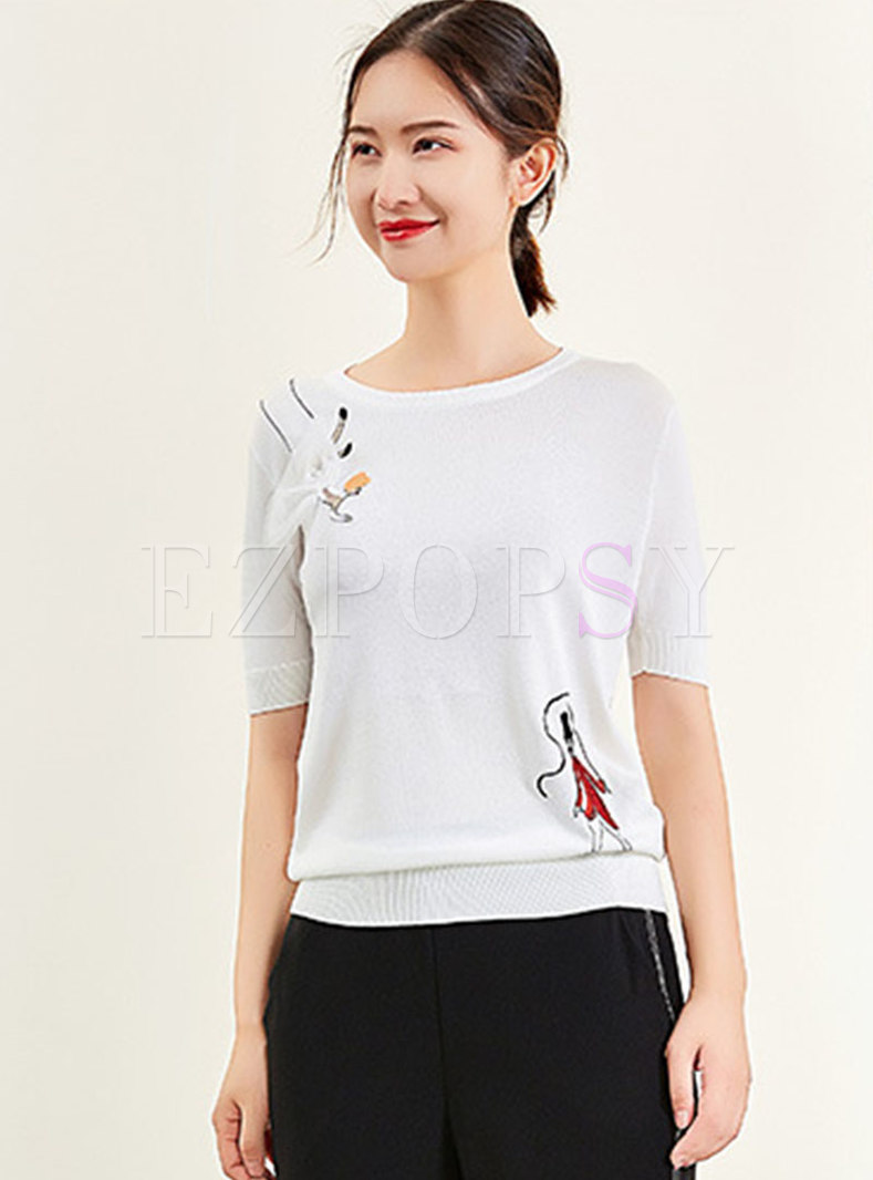Casual O-neck Embroidered Knitted Top