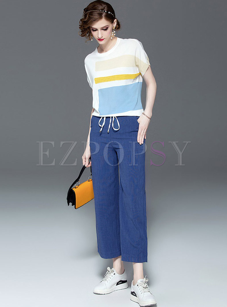 Color-blocked O-neck Top & Tie-waist Straight Pants