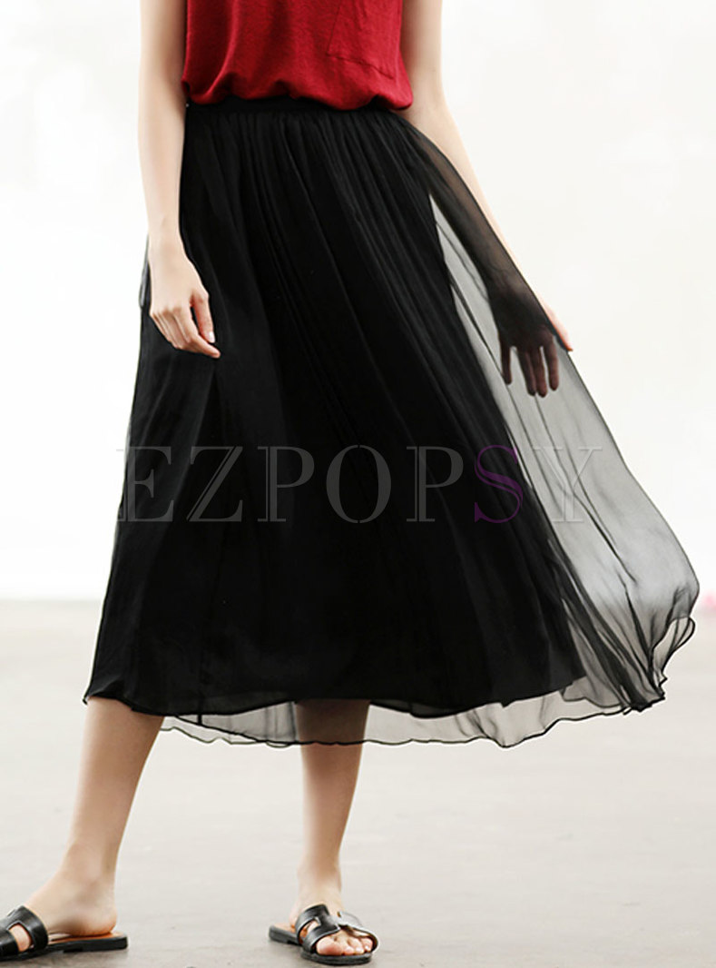 Casual Black Silk Elastic Waist Skirt