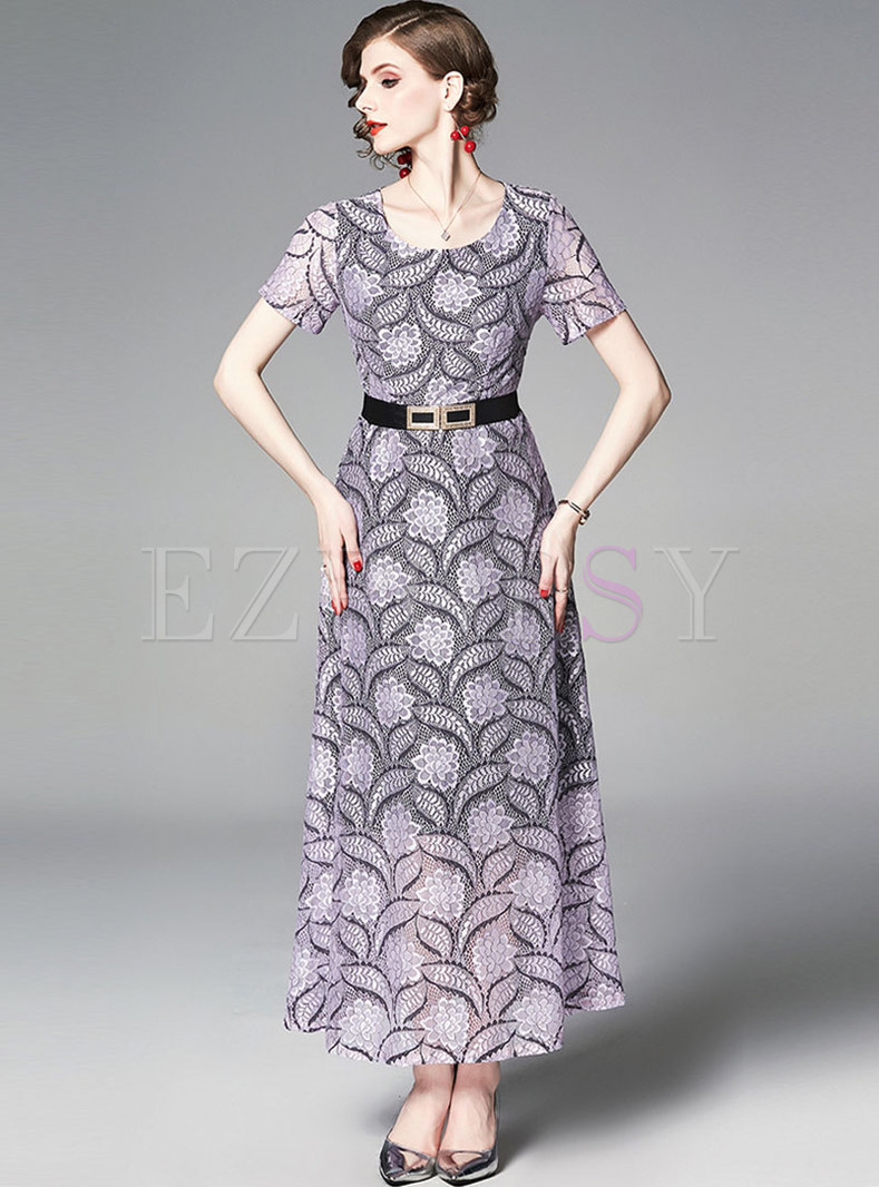 Elegant Lace O-neck Belted Hem Maxi Dress