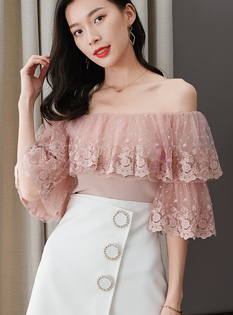 Embroidered Lace Splicing Flare Sleeve Knit