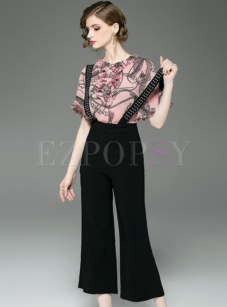 Casual Print Falbala Top & Overalls Pants