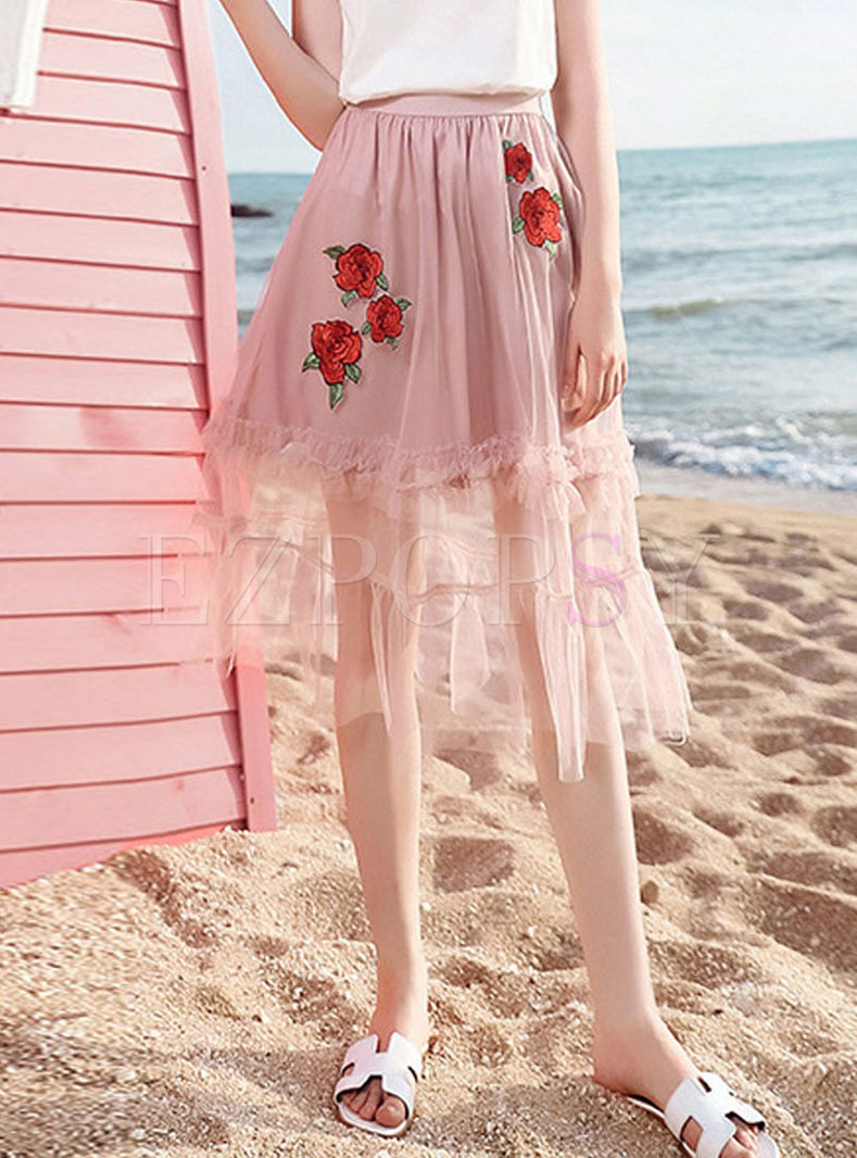 Fashion Mesh Embroidered Splicing Skirt