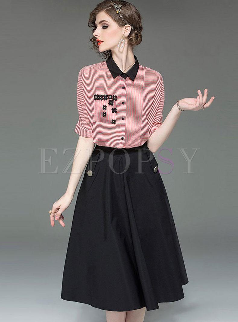 Stylish Lapel Striped Blouse & Big Hem Skirt