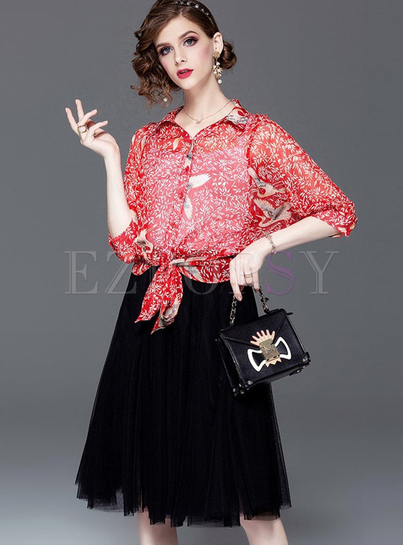 Print Lapel Tied Blouse With Cami & Mesh Skirt