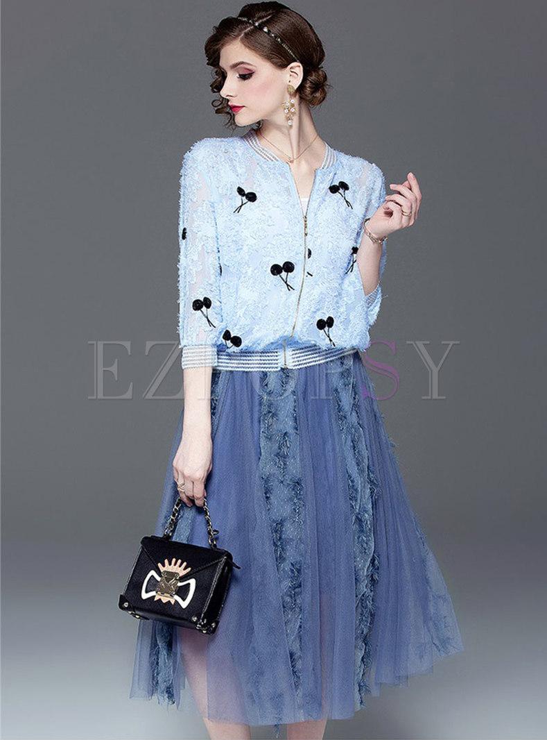 Chic Print O-neck Short Coat & Mesh A Line Skirt