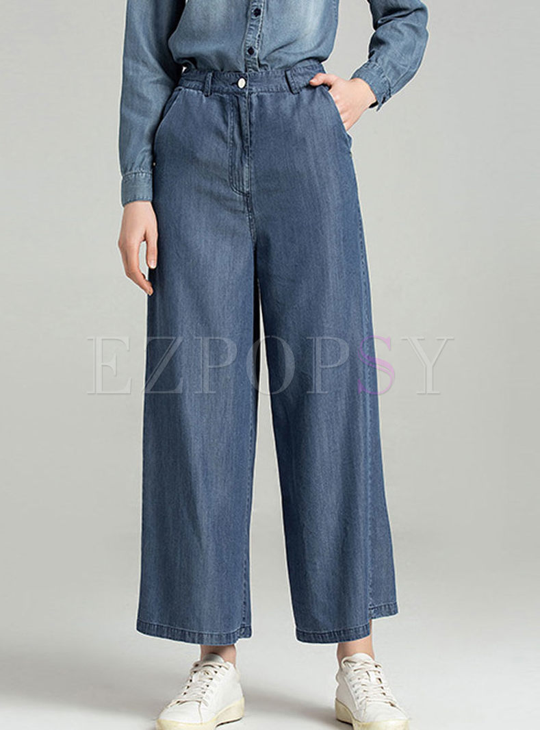 Stylish High Waist Wide Leg Jeans With Pocket