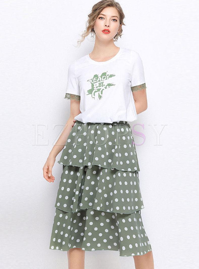 Pullover Lace Splicing T-shirt & Polka Dot Skirt