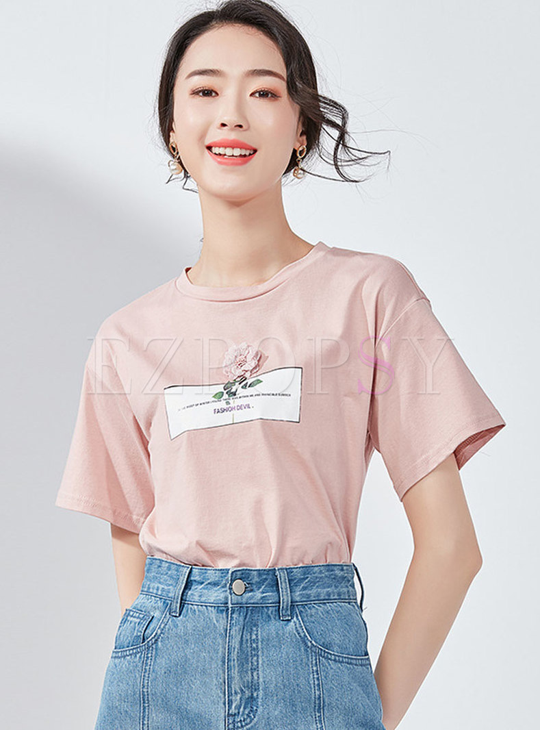 O-neck Letter Print Loose Cotton T-shirt