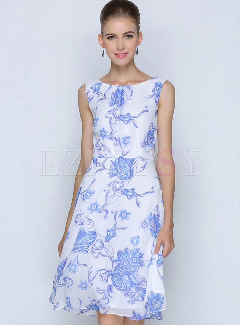 Retro O-neck Sleeveless Print Chiffon Skater Dress
