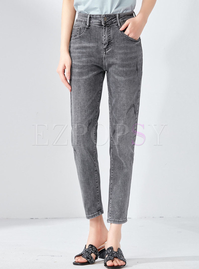Stylish Denim High Waist Pencil Pants