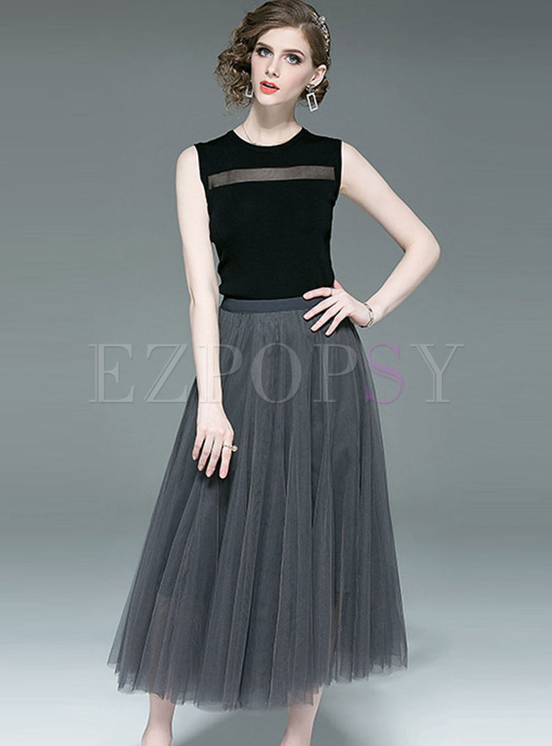 Fashion O-neck Slim Top & High Waist Mesh Skirt