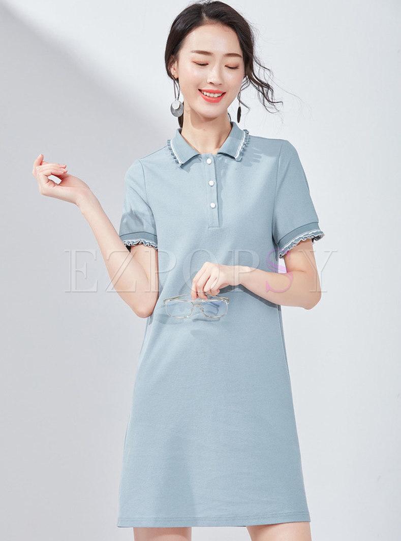 Casual Splicing Polka Collar T-shirt Dress
