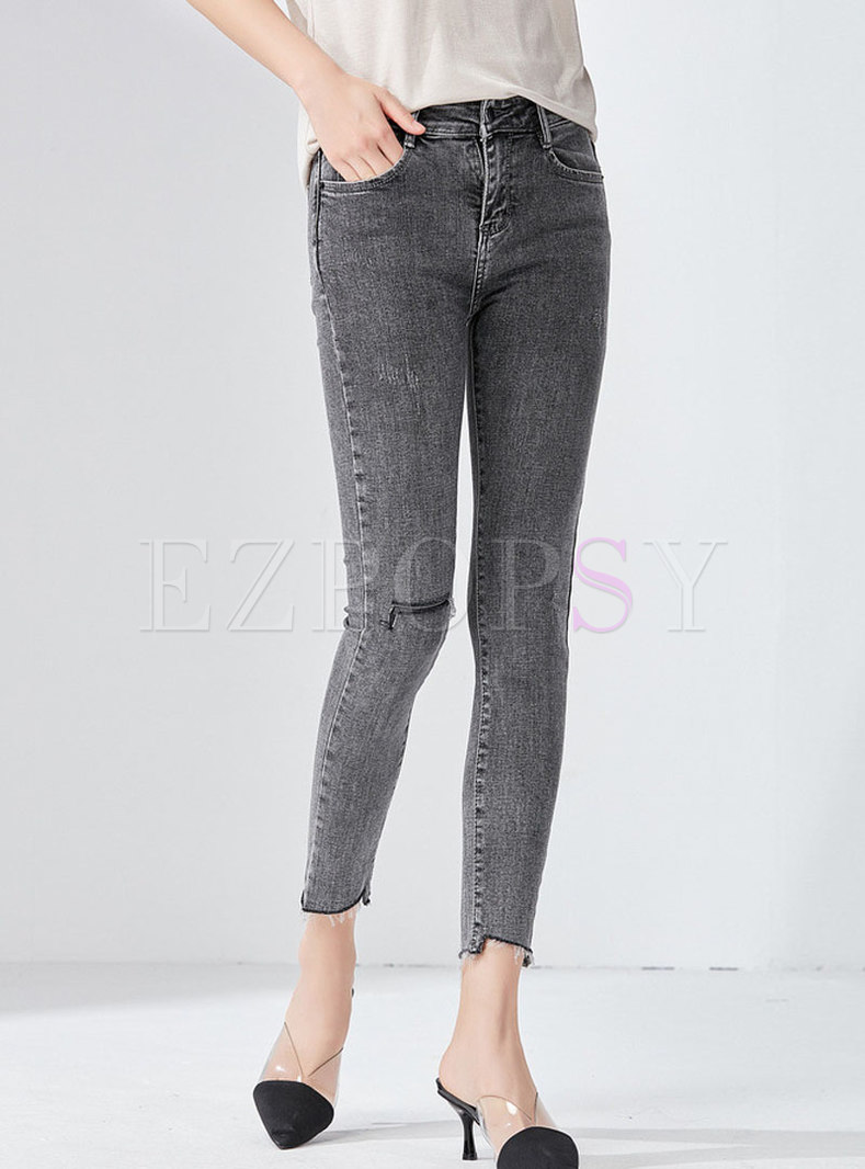 High Waist Slim Grey Denim Pencil Pants
