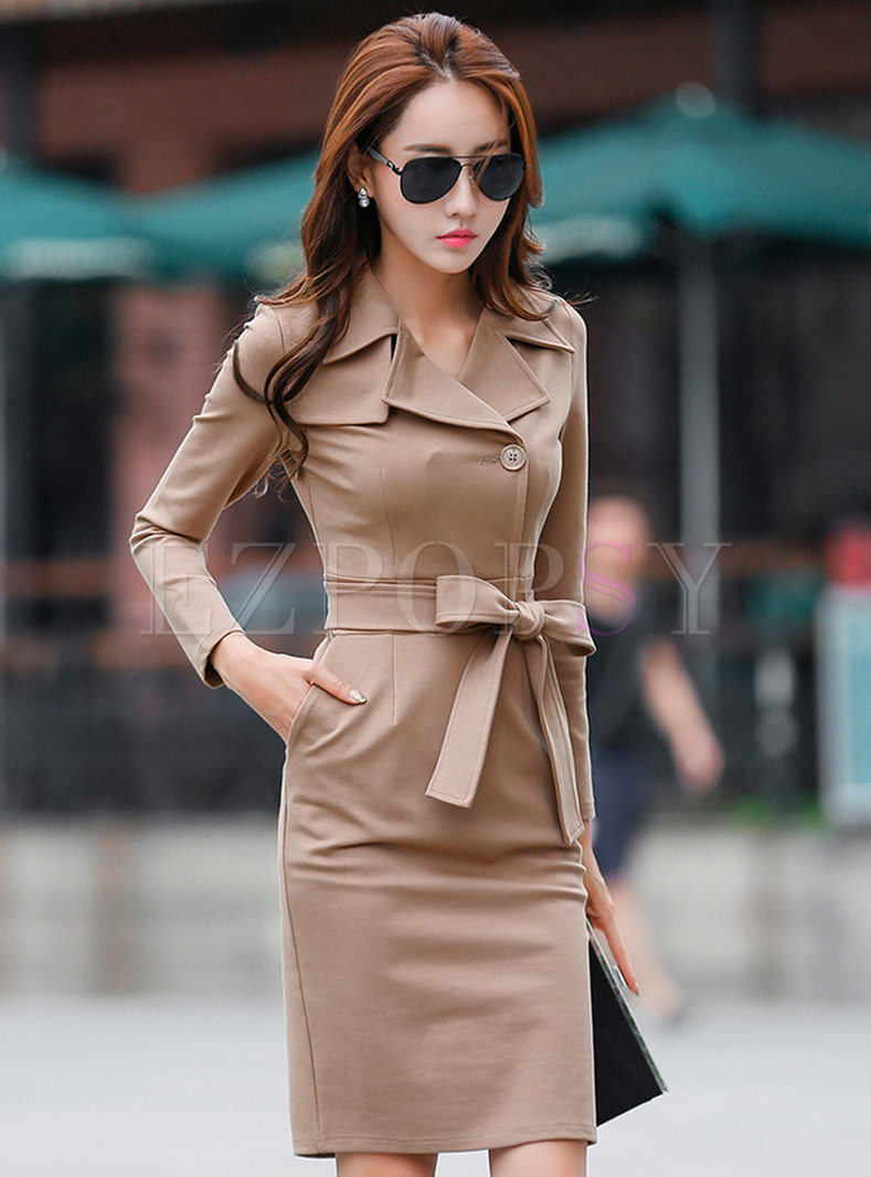 Notched Long Sleeve Slit Sheath Dress