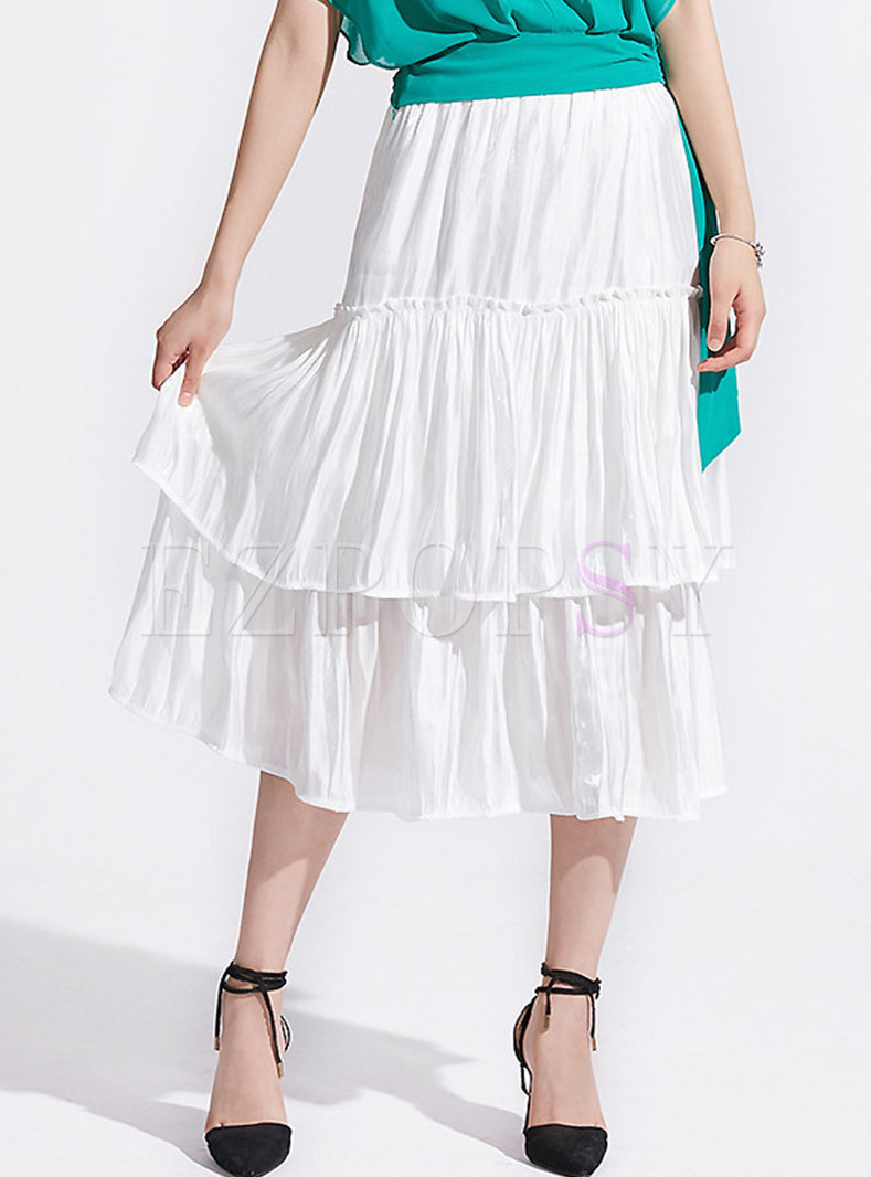 Pure Color High Waist Layered Skirt