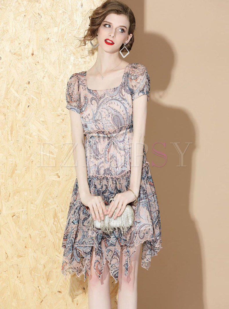 Print Square Neck Slim Asymmetric Dress