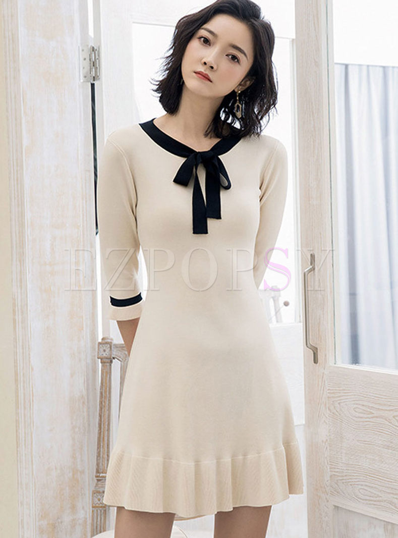 O-neck Bowknot Slim Knitted A Line Dress